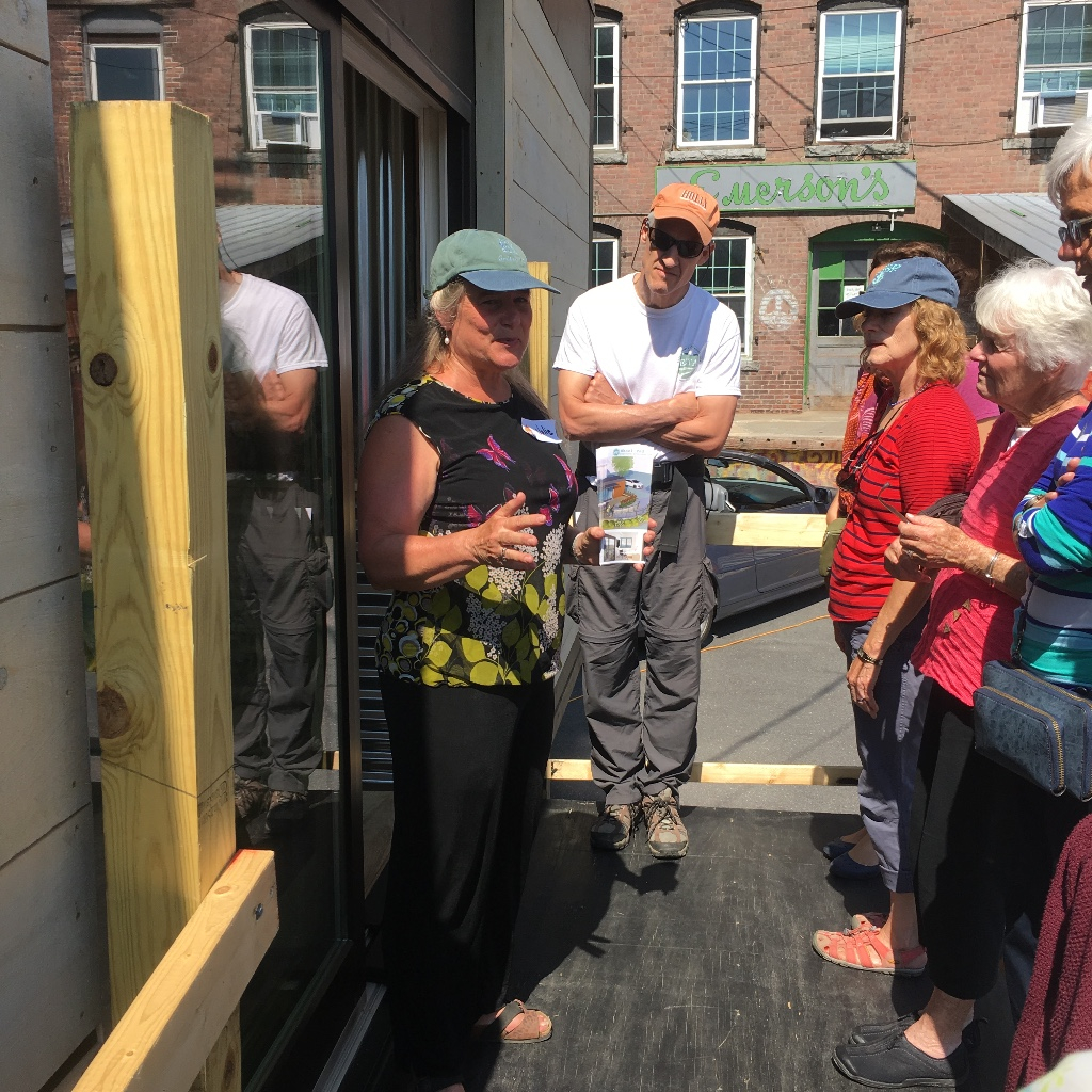 Julie Lineberger shows the prototype Wheelpad at the Tiny House Festival