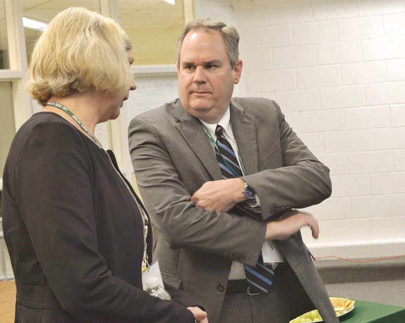 KRISTOPHER RADDER — BRATTLEBORO REFORMER Dan French, Vermont Secretary Of The Agency Of Education, Talks With State Rep. Emily Long, D-Windham 5, Before The Start Of An Event At Leland & Gray Union Middle And High School For The Launch Of An Innovative Education Program With The Brattleboro Development Credit Corporation On Friday, Sept. 21, 2018.