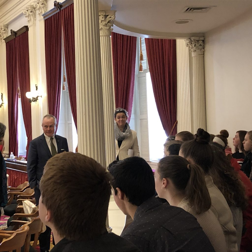 Speaker Johnson And Representatives Sibilia And Gannon Meet With Students On The House Floor.
