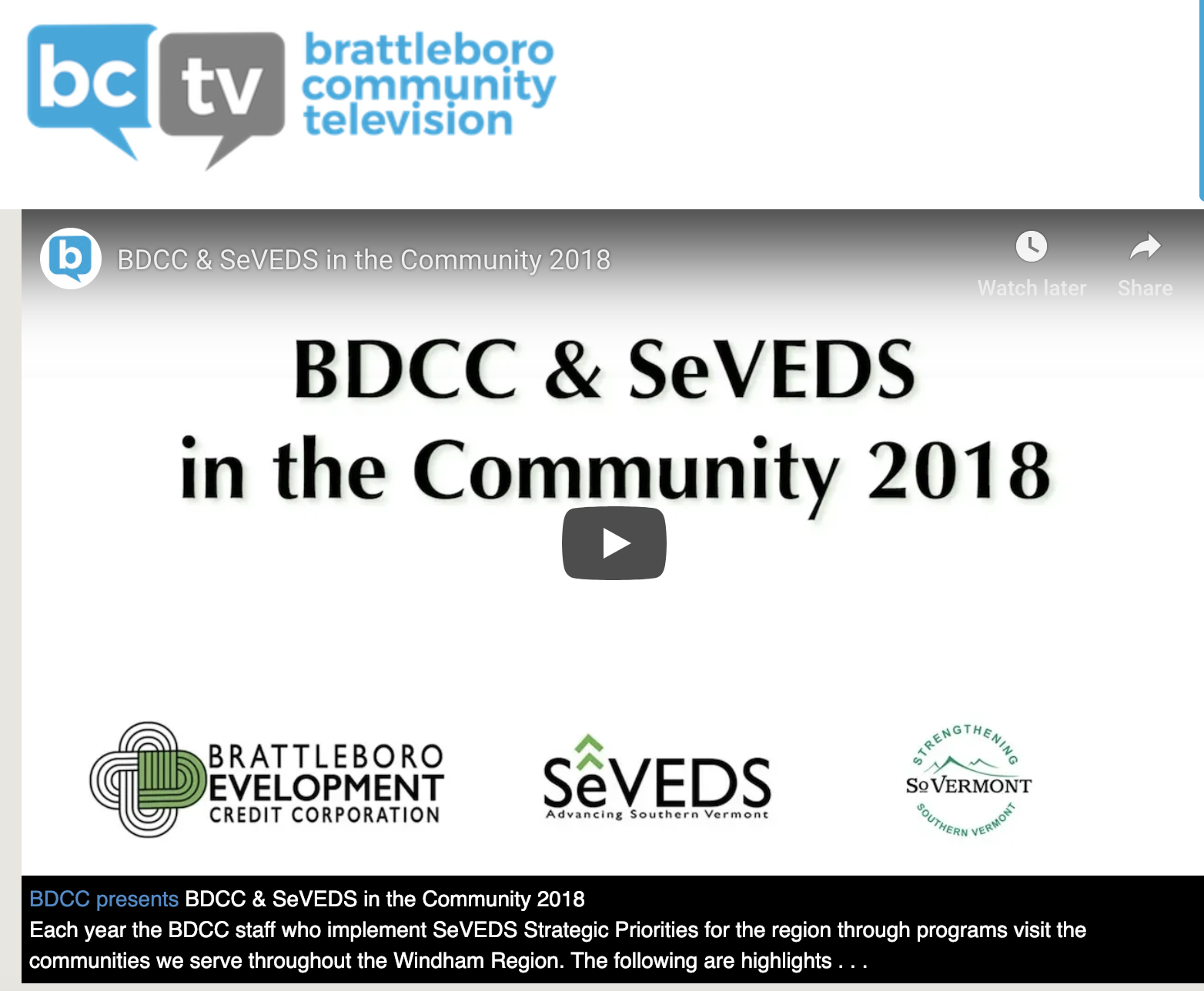 BDCC & SeVEDS Selectboard Visits Video