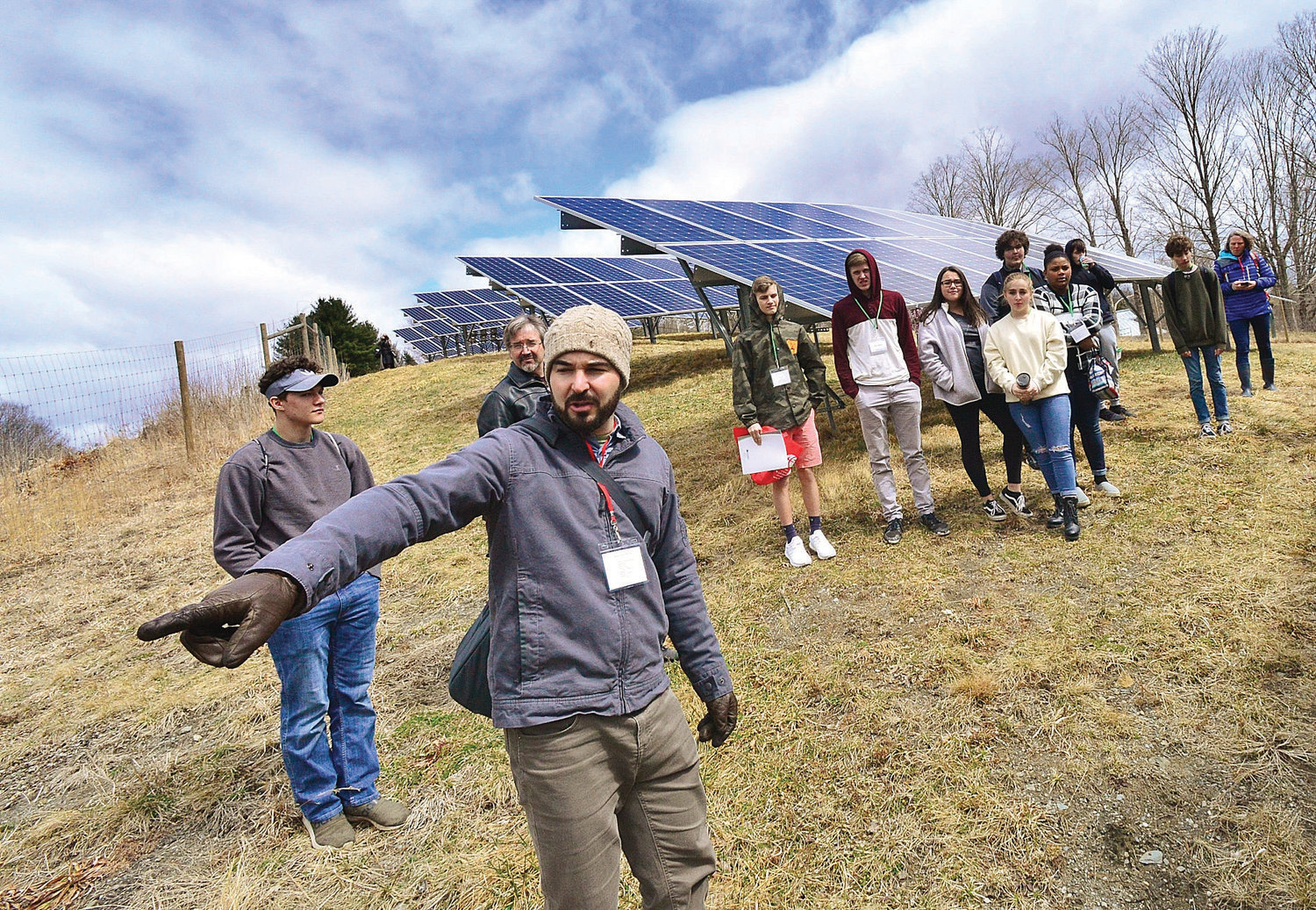 KRISTOPHER RADDER — BRATTLEBORO REFORMER Josh Hilsdon, From PV Squared, Tells Students How The Solar Panels Work During The Sophomore Summit At S.I.T. On Wednesday, April 10, 2019.