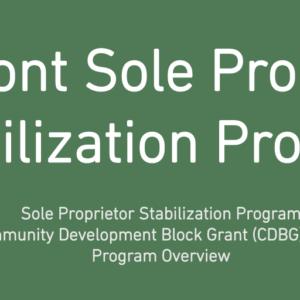 Vermont Community Development Block Grant (CDBG) Cares Act Sole Proprietor Stabilization Grant Program Set To Launch