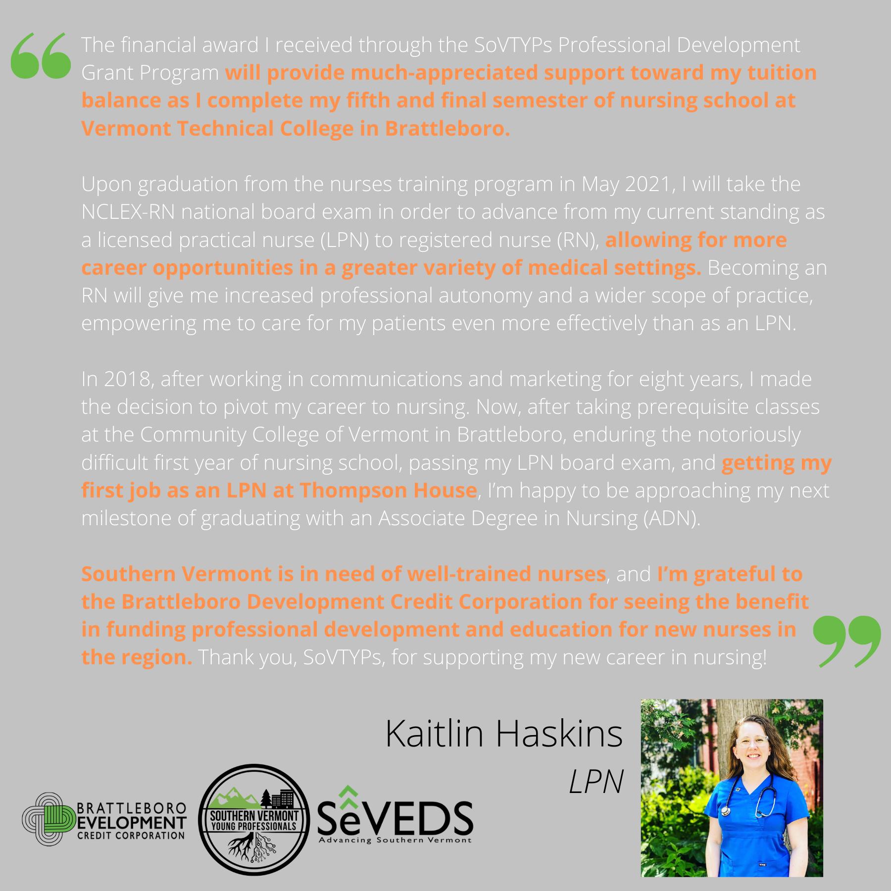 K. Haskins Testimonial